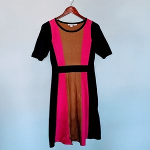 Boden Purple, Pink, and Camel Sweater Dress